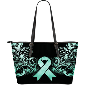 Cancer Awareness Large Leather Tote Bag