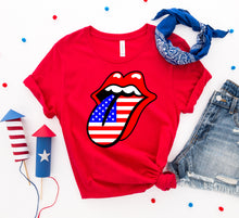 Load image into Gallery viewer, USA Lips 4th of July T-shirt