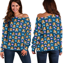Load image into Gallery viewer, Dog Hearts Off Shoulder Sweater