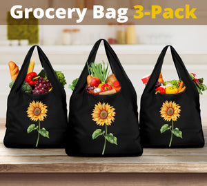 Sunflower Reusable Grocery Bags Set