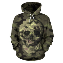 Load image into Gallery viewer, Camo Skull All Over Print Hoodie for Lovers of Skulls and Camouflage