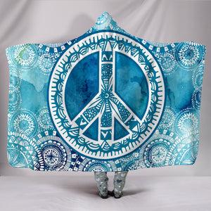 Blue Peace Mandala Hooded Blanket