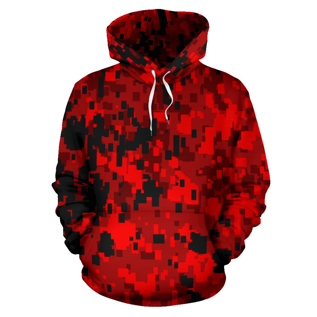 Digital Camouflage Red All-Over Print Hoodie