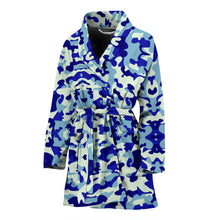 Load image into Gallery viewer, Blue Camouflage Womens Bathrobe