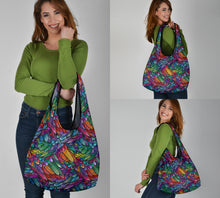 Load image into Gallery viewer, Boho Feather Reusable Grocery Bags Set