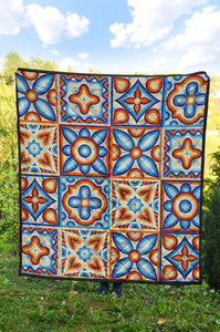 Ancient mosaic ceramic tile pattern.quilt