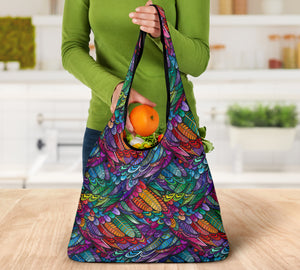 Boho Feather Reusable Grocery Bags Set
