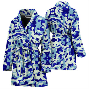Blue Camouflage Womens Bathrobe