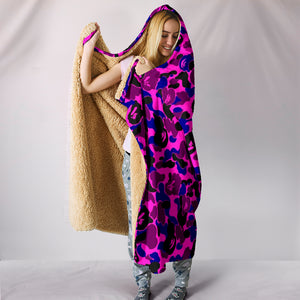 Camouflage Pink & Purple Plush Lined Wearable Hooded Blanket