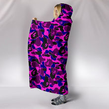Load image into Gallery viewer, Camouflage Pink & Purple Plush Lined Wearable Hooded Blanket