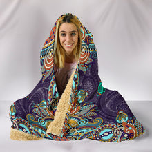 Load image into Gallery viewer, Peace Fractal Mandala Hooded Blanket