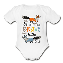 Load image into Gallery viewer, Be Brave-Organic Short Sleeve Baby Bodysuit - white