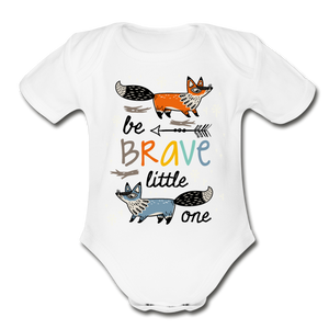 Be Brave-Organic Short Sleeve Baby Bodysuit - white