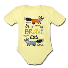 Load image into Gallery viewer, Be Brave-Organic Short Sleeve Baby Bodysuit - washed yellow
