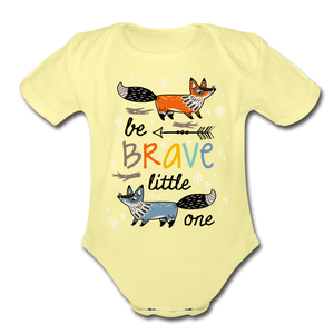 Be Brave-Organic Short Sleeve Baby Bodysuit - washed yellow