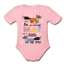 Load image into Gallery viewer, Be Brave-Organic Short Sleeve Baby Bodysuit - light pink