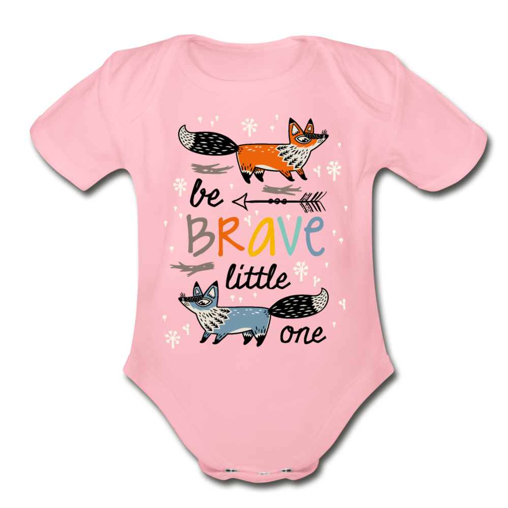 Be Brave-Organic Short Sleeve Baby Bodysuit - light pink
