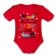 Load image into Gallery viewer, Be Brave-Organic Short Sleeve Baby Bodysuit - red