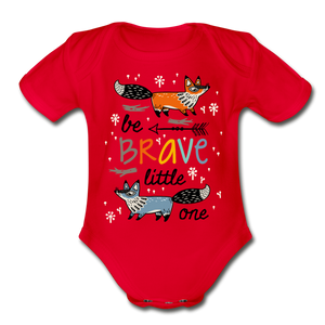 Be Brave-Organic Short Sleeve Baby Bodysuit - red