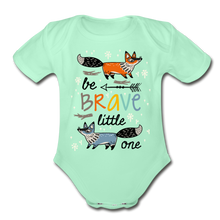 Load image into Gallery viewer, Be Brave-Organic Short Sleeve Baby Bodysuit - light mint