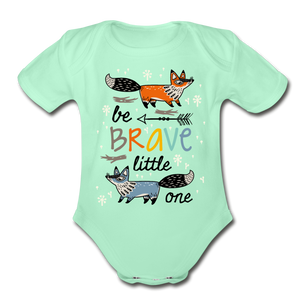 Be Brave-Organic Short Sleeve Baby Bodysuit - light mint