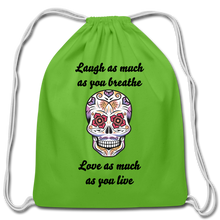 Load image into Gallery viewer, Laugh As Much-Cotton Drawstring Bag - clover