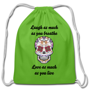 Laugh As Much-Cotton Drawstring Bag - clover