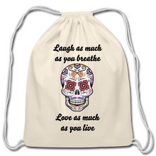 Load image into Gallery viewer, Laugh As Much-Cotton Drawstring Bag - natural