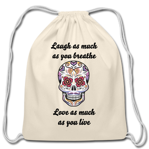 Laugh As Much-Cotton Drawstring Bag - natural