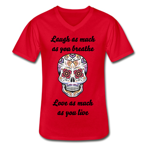 Laugh As Much -Men's V-Neck T-Shirt - red