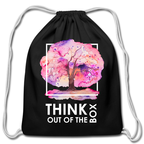 Think Outside Of-Cotton Drawstring Bag - black