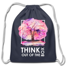 Load image into Gallery viewer, Think Outside Of-Cotton Drawstring Bag - navy