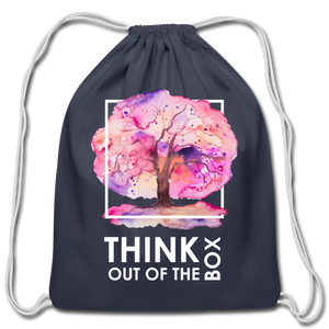Think Outside Of-Cotton Drawstring Bag - navy