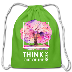 Think Outside Of-Cotton Drawstring Bag - clover
