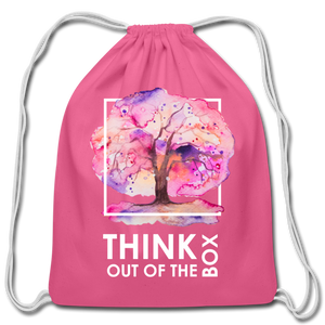 Think Outside Of-Cotton Drawstring Bag - pink
