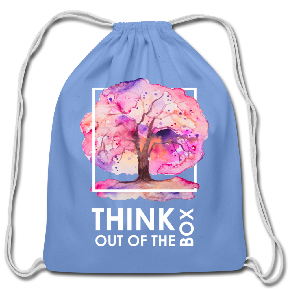 Think Outside Of-Cotton Drawstring Bag - carolina blue