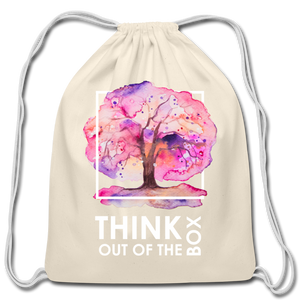 Think Outside Of-Cotton Drawstring Bag - natural