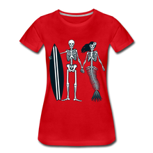 Load image into Gallery viewer, Mermaid Skeletons-Women's Premium T-Shirt - red