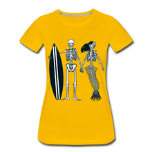 Load image into Gallery viewer, Mermaid Skeletons-Women's Premium T-Shirt - sun yellow
