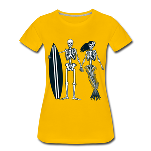 Mermaid Skeletons-Women's Premium T-Shirt - sun yellow