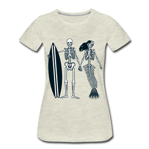 Mermaid Skeletons-Women's Premium T-Shirt - heather oatmeal