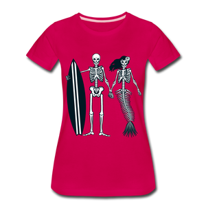 Mermaid Skeletons-Women's Premium T-Shirt - dark pink
