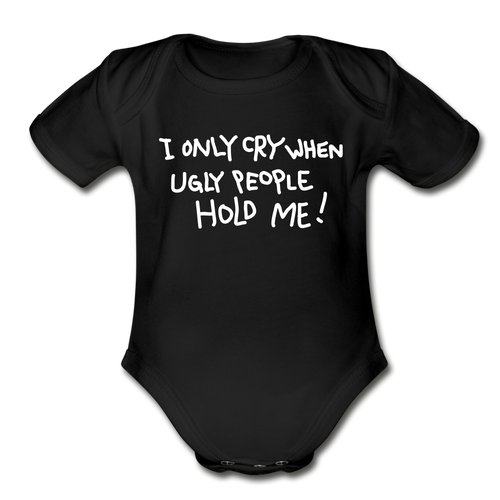 I Only Cry-Organic Short Sleeve Baby Bodysuit - black