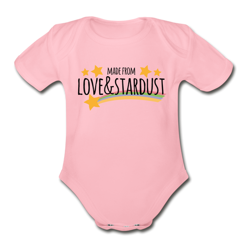 Made From Love-Organic Short Sleeve Baby Bodysuit - light pink
