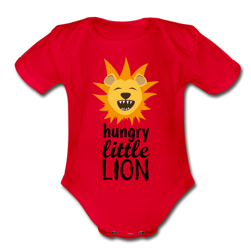 Hungry Little Lion -Organic Short Sleeve Baby Bodysuit - red