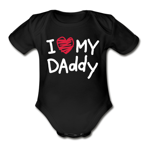 Love Daddy-Organic Short Sleeve Baby Bodysuit - black
