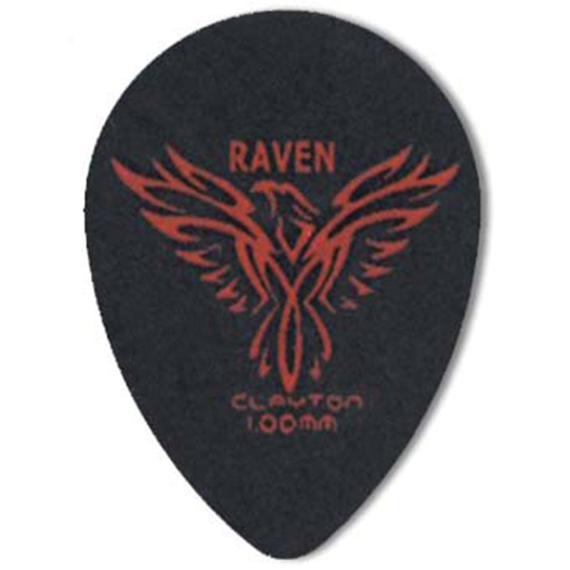 Clayton BLACK RAVEN PICK SMALL TEARDROP 1.0MM (72 Pack)