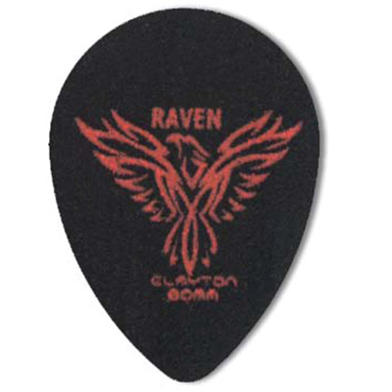 Clayton BLACK RAVEN PICK SMALL TEARDROP .80MM (72 Pack)