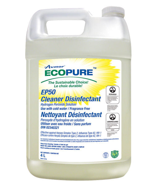 AVMOR ECOPURE EP50 MULTI-USE CLEANER/DISINFECTANT – 4L (4/case)