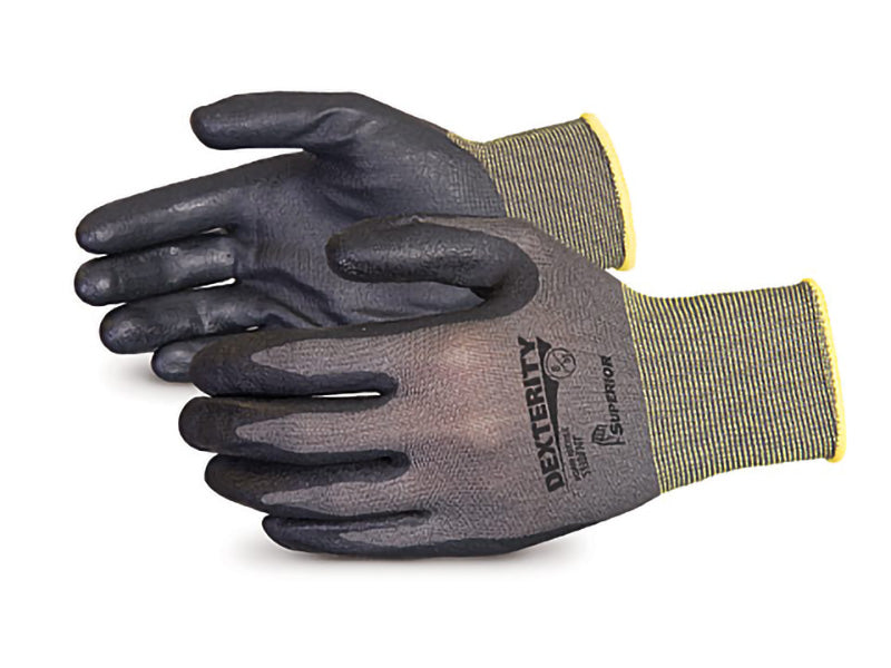 DEXTERITY® BLACK FOAM NITRILE PALM COATED NYLON GLOVE, MEDIUM (12prs/pkg)